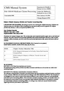 Department of Health & Human Services (DHHS) Centers for Medicare & Medicaid Services (CMS) Transmittal 1898 Date: January 29, 2010