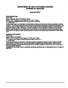 DEPARTMENT OF HEALTH STUDIES COURSES OFFERED BY QUARTER. Summer 2013