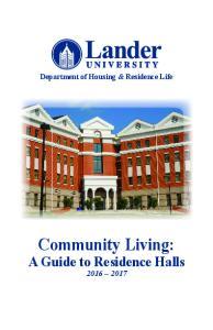 Department of Housing & Residence Life. Community Living: