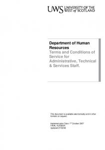 Department of Human Resources Terms and Conditions of Service for Administrative, Technical & Services Staff