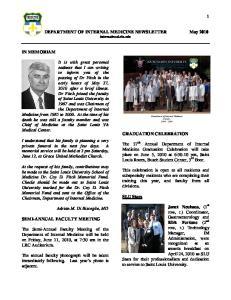DEPARTMENT OF INTERNAL MEDICINE NEWSLETTER