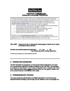 Department of KINESIOLOGY STANDARD OPERATING PROCEDURE