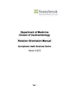 Department of Medicine Division of Gastroenterology. Rotation Orientation Manual