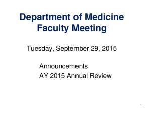 Department of Medicine Faculty Meeting