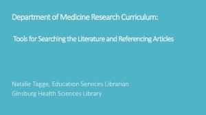 Department of Medicine Research Curriculum: