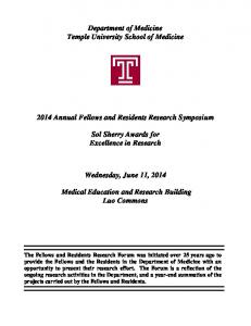 Department of Medicine Temple University School of Medicine Annual Fellows and Residents Research Symposium
