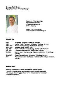 Department of Neuropathology Ruprecht Karls University Im Neuenheimer Feld Heidelberg