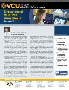 Department of Nurse Anesthesia Summer 2013