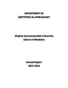 DEPARTMENT OF OBSTETRICS & GYNECOLOGY. Virginia Commonwealth University School of Medicine