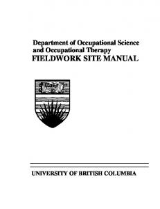 Department of Occupational Science and Occupational Therapy FIELDWORK SITE MANUAL