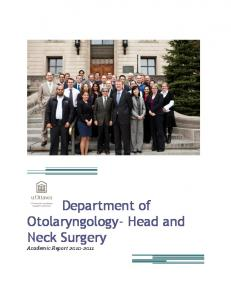 Department of Otolaryngology- Head and Neck Surgery