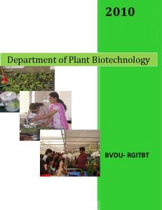 Department of Plant Biotechnology BVDU- RGITBT