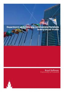 Department of Politics and International Relations Undergraduate Studies