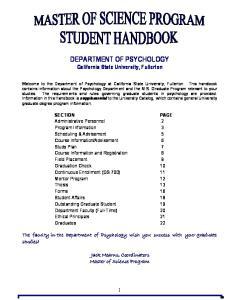 DEPARTMENT OF PSYCHOLOGY California State University, Fullerton