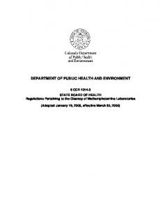 DEPARTMENT OF PUBLIC HEALTH AND ENVIRONMENT