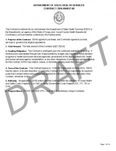 DEPARTMENT OF STATE HEALTH SERVICES CONTRACT