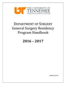 DEPARTMENT OF SURGERY General Surgery Residency Program Handbook