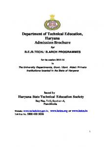 Department of Technical Education, Haryana Admission Brochure