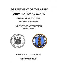 DEPARTMENT OF THE ARMY ARMY NATIONAL GUARD