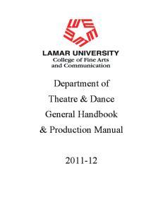 Department of Theatre & Dance General Handbook & Production Manual