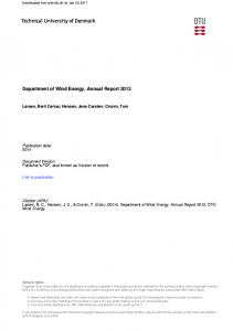 Department of Wind Energy. Annual Report 2013
