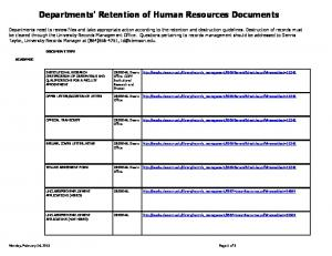 Departments' Retention of Human Resources Documents