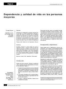 Dependencia y calidad de vida en las personas
