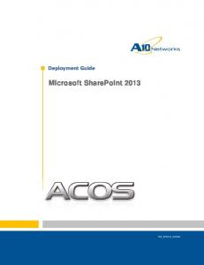 Deployment Guide. Microsoft SharePoint 2013
