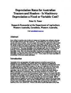 Depreciation Rates for Australian Tractors and Headers - Is Machinery Depreciation a Fixed or Variable Cost?