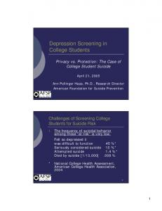 Depression Screening in College Students