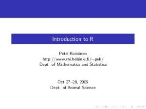 Dept. of Mathematics and Statistics. Oct 27 28, 2009 Dept