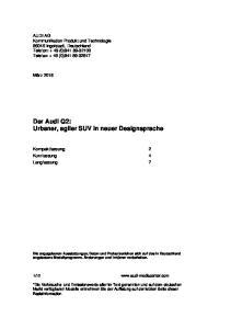 Der Audi Q2: Urbaner, agiler SUV in neuer Designsprache