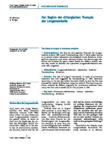 Der Beginn der chirurgischen Therapie der Lungenembolie