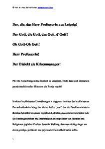 Der, die, das Herr Professorin aus Leipzig! Der Gott, die Gott, das Gott, d Gott?