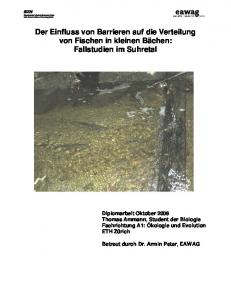 Der Einfluss von Barrieren auf die Verteilung von Fischen in kleinen Bächen: Fallstudien im Suhretal
