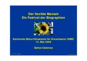 Der flexible Mensch Ein Festival der Biographien