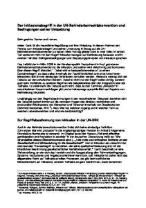 Der Inklusionsbegriff in der UN-Behindertenrechtskonvention und Bedingungen seiner Umsetzung