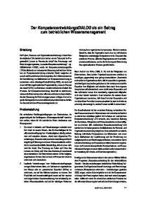 Der KompetenzentwicklungsDIALOG als ein Beitrag zum betrieblichen Wissensmanagement