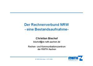 Der Rechnerverbund NRW - eine Bestandsaufnahme-