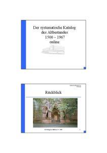 Der systematische Katalog des Altbestandes online