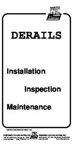 DERAILS. Installation. Inspection. Maintenance WESTERN-CULLEN-HAYES, INC