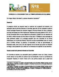 DERECHO A LA EDUCACION PARA LA PRIMERA INFANCIA EN COLOMBIA