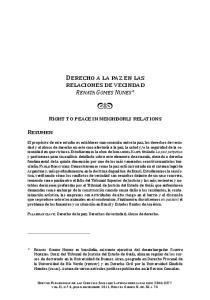 Derecho a la paz en las relaciones de vecindad. Renata Gomes Nunes*