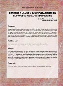 Derecho a la voz y sus implicaciones en el proceso penal costarricense
