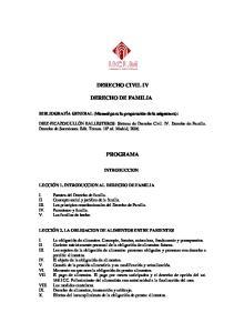 DERECHO CIVIL IV DERECHO DE FAMILIA PROGRAMA