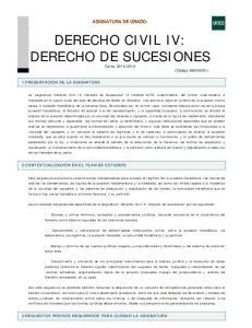DERECHO CIVIL IV: DERECHO DE SUCESIONES