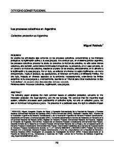 DERECHO CONSTITUCIONAL. Los procesos colectivos en Argentina. Collective protection at Argentina. Miguel Robledo 1
