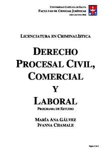 DERECHO PROCESAL CIVIL, COMERCIAL
