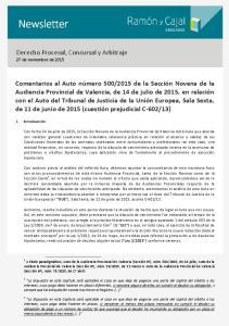 Derecho Procesal, Concursal y Arbitraje 27 de noviembre de 2015