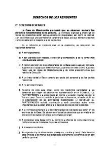 DERECHOS DE LOS RESIDENTES